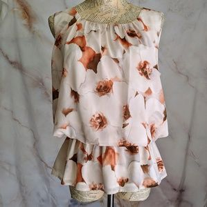 ST. JOHN Floral Sleeveless blouse Top size 8 silk